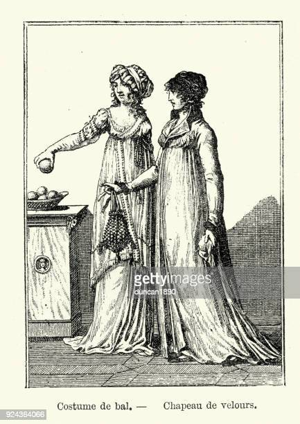 womens fashions of early 19th century france - bonnet stock illustrations, clip art, cartoons, & icons