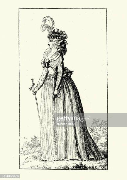 Womens fashions of late 18th Century France