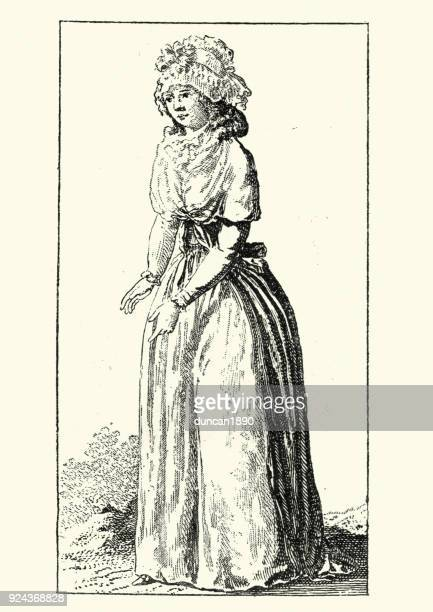 womens fashions of late 18th century france - bonnet stock illustrations, clip art, cartoons, & icons