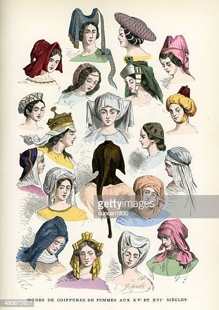womens headwear 15th and 16th century - bonnet stock illustrations, clip art, cartoons, & icons