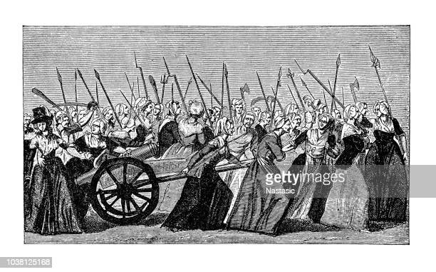women's march on versailles, french revolution, 5 october 1789 - history stock illustrations, clip art, cartoons, & icons