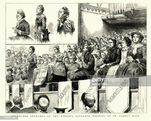 women's suffrage meeting at st james's hall, 1884, 19th century - political rally stock illustrations, clip art, cartoons, & icons