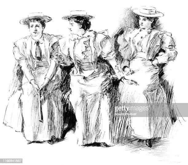women's suffragists in new york city, new york, united states - 19th century - history stock illustrations
