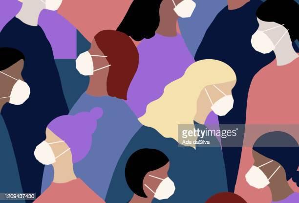 ilustraciones, imágenes clip art, dibujos animados e iconos de stock de las mujeres usan una máscara facial de los virus de invierno - derechos humanos
