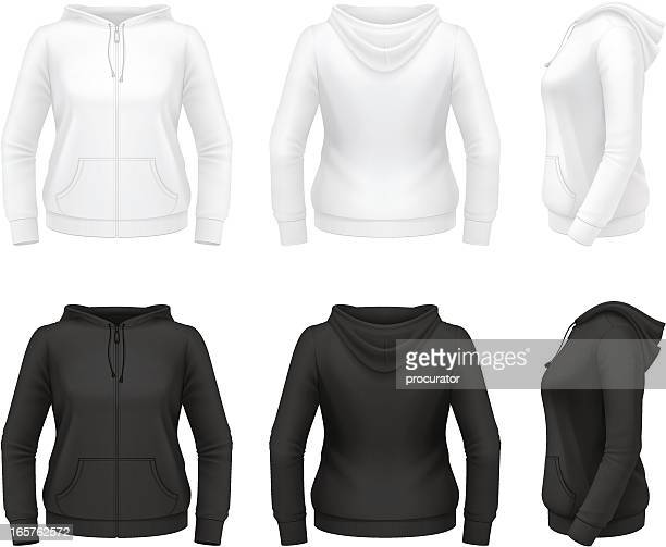 women's zip hoodie with pockets - hooded top stock illustrations
