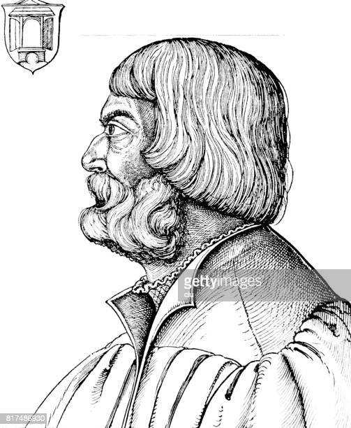 Wood engraving Portrait of Albrecht Dürer, side view, age of 56, unknown painter