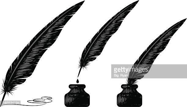 woodblock quill - quill pen stock illustrations