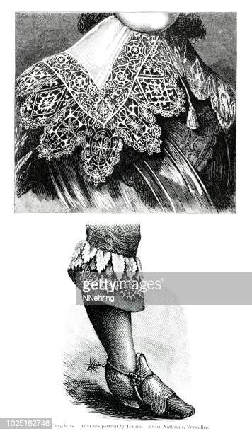 woodcut detail of reticella lace collar and cuff - medieval shoes stock illustrations