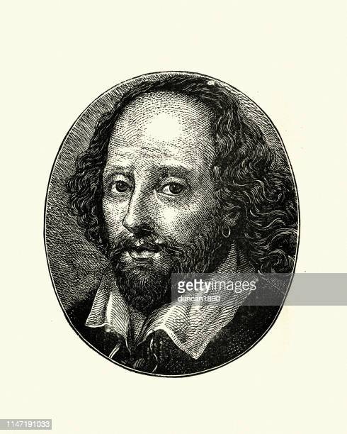 woodcut engraving of william shakespeare - actor stock illustrations, clip art, cartoons, & icons