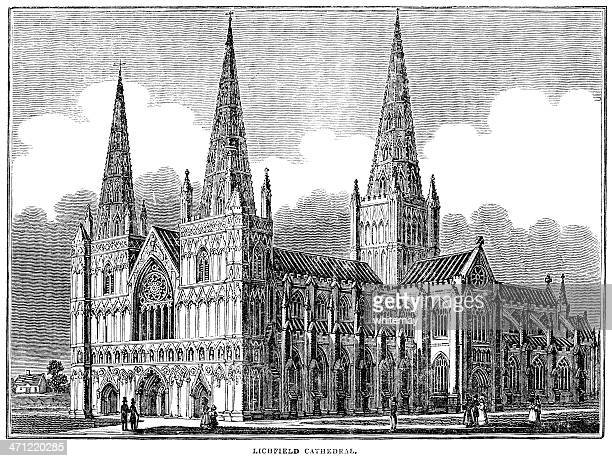 Woodcut from 1833 - Lichfield Cathedral