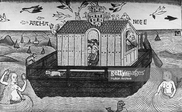 A woodcut from the Nuremberg Bible of Noah's Ark depicting the ship built by the Hebrew patriarch to save himself his family and a pair of each...