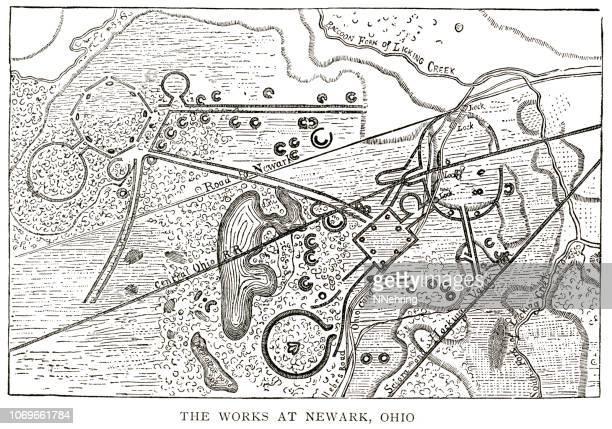 woodcut map illustration of newark earthworks, ohio - archaeology stock illustrations