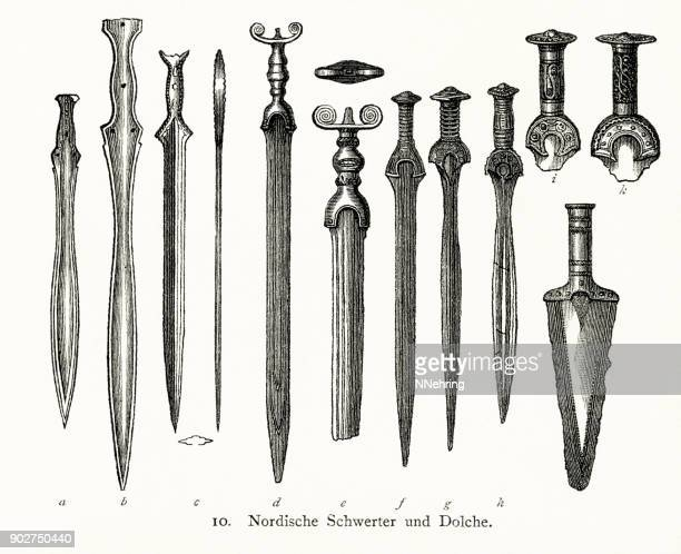 woodcut of ancient Nordic swords and daggers