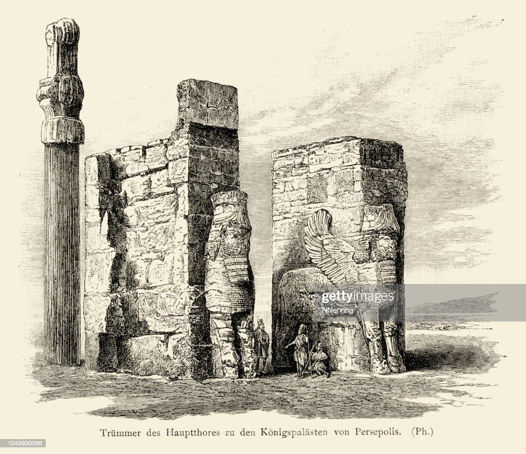 Woodcut Of Gate Of All Nations Persepolis Iran About 1850 High Res Vector Graphic Getty Images