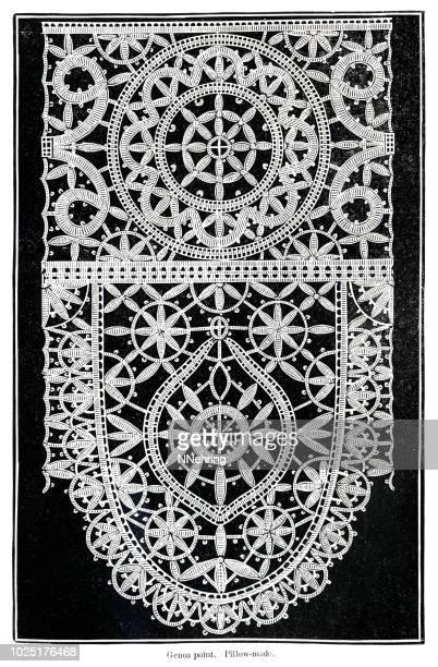 woodcut of genoa bobbin lace - lace textile stock illustrations