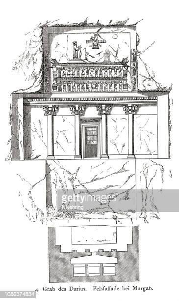 ダライアスの墓の木版画は marvdasht、イラン - ダレイオス1世点のイラスト素材/クリップアート素材/マンガ素材/アイコン素材