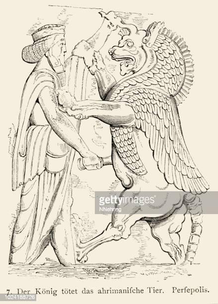 woodcut of king killing angra mainyu bas relief persepolis - bas relief stock illustrations