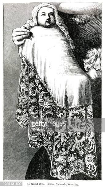 woodcut of louis of france, grand dauphin, with lace trimmed blanket - baby blanket stock illustrations, clip art, cartoons, & icons