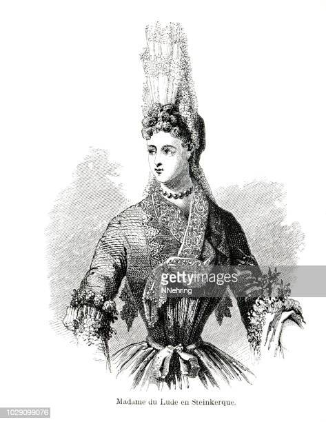 woodcut of madame de lude, in fontanges headdress and steinkirk - fontanges stock illustrations, clip art, cartoons, & icons