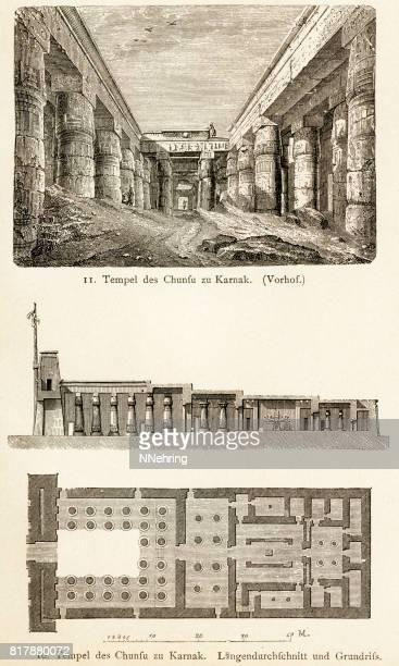 woodcuts of temple of khonsu, karnak, egypt - thebes egypt stock illustrations