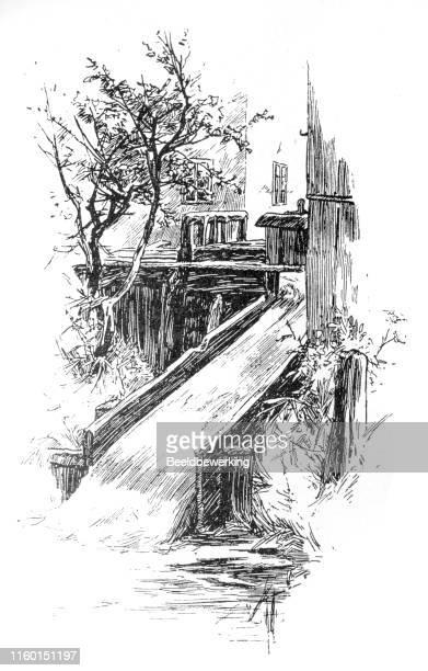 wooden aqueduct with stream - aqueduct stock illustrations, clip art, cartoons, & icons