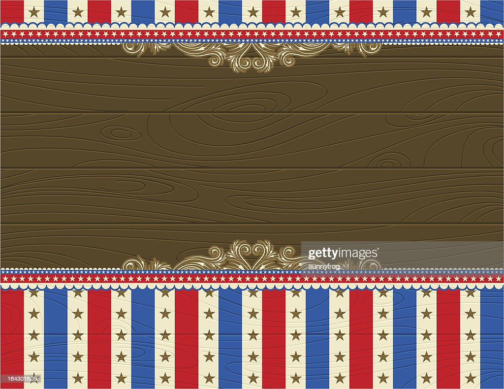 USA wooden background with decorative ornaments.