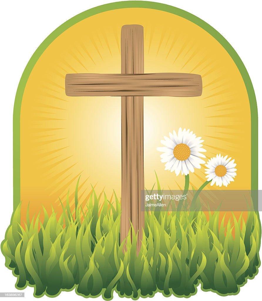 Wooden cross in the sunshine