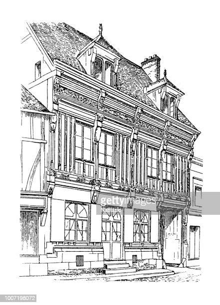 wooden house from the peak period in andelys - normandy stock illustrations, clip art, cartoons, & icons