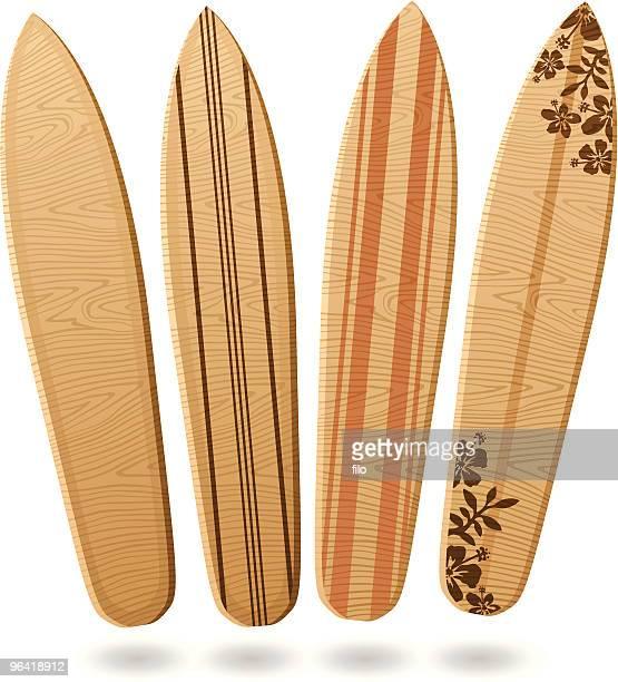 illustrations, cliparts, dessins animés et icônes de planches de surf en bois - planche de surf
