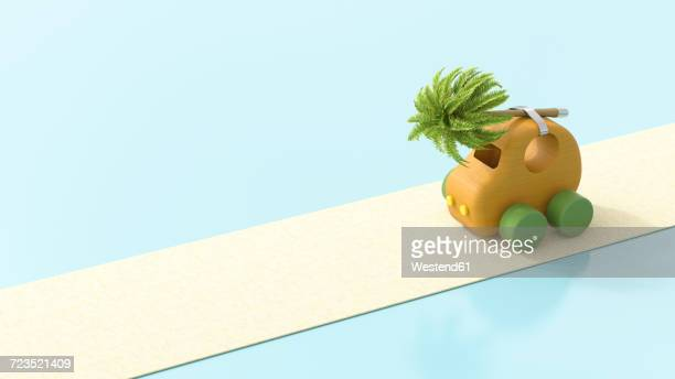 Wooden toy car with palm tree on roof, 3d rendering