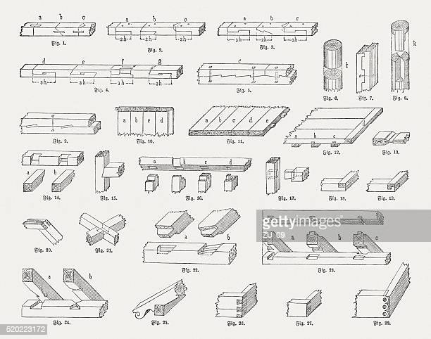 woodworking joints, wood engravings, published in 1884 - carpenter stock illustrations