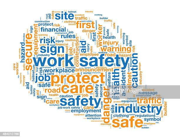 work safety issues and concepts word cloud - occupational safety and health stock illustrations, clip art, cartoons, & icons