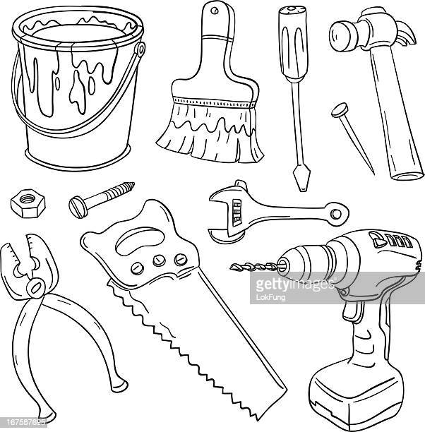 work tools in black and white - gardening equipment stock illustrations