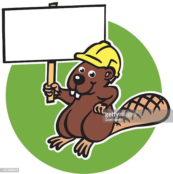 worker beaver - funny beaver stock illustrations