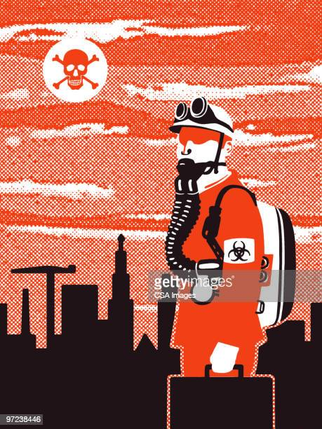 ilustraciones, imágenes clip art, dibujos animados e iconos de stock de worker in toxic world - arma biológica