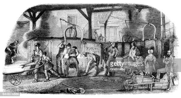 worker manufacturing iron at smelting furnace 1850 - 18th century style stock illustrations