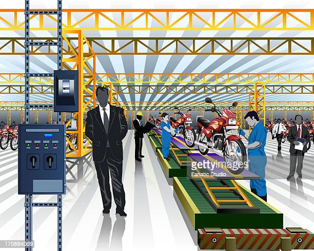 worker testing motorcycles on production line in a factory - showroom stock illustrations, clip art, cartoons, & icons