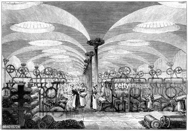 workers and machinery in a flax mill (victorian engraving) - textile industry stock illustrations