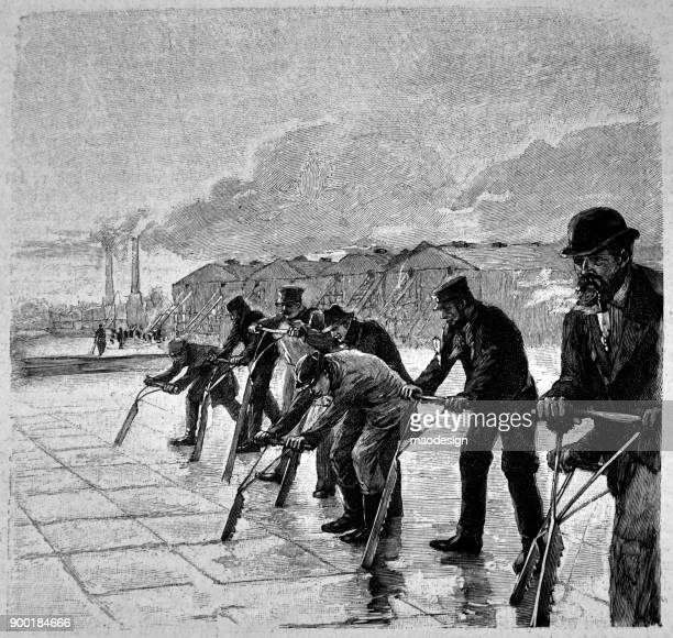 workers cut ice blocks with special saws - 1896 - 1896 stock illustrations, clip art, cartoons, & icons
