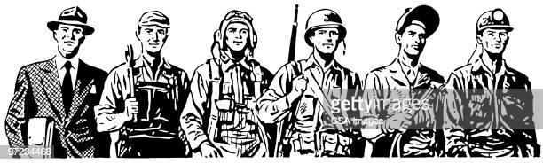 workers - army soldier stock illustrations