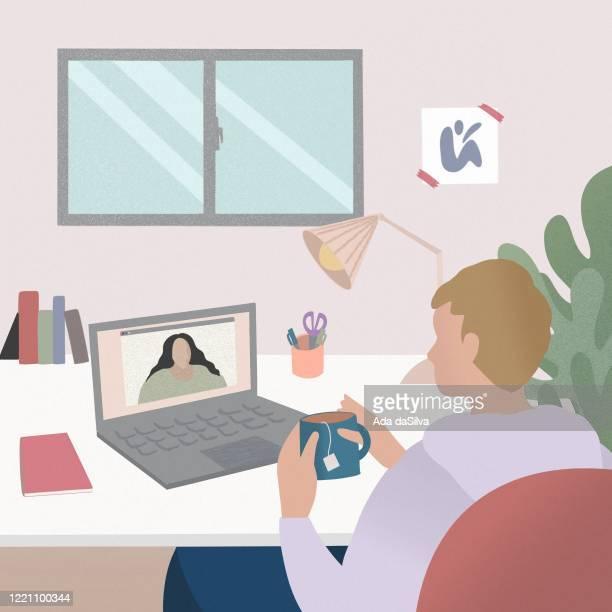 コンピュータを使用して作業し、会話する - 人里離れた点のイラスト素材/クリップアート素材/マンガ素材/アイコン素材