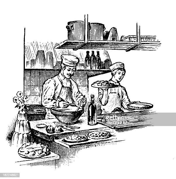 working at restaurant | antique design illustrations - chef stock illustrations