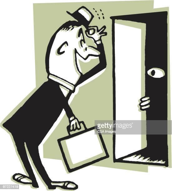 working door to door salesman - entrance stock illustrations, clip art, cartoons, & icons
