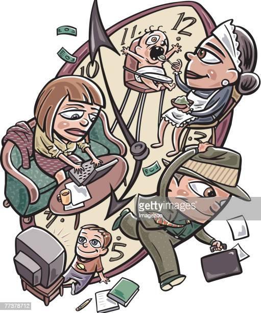 ilustraciones, imágenes clip art, dibujos animados e iconos de stock de working parents - familia viendo tv