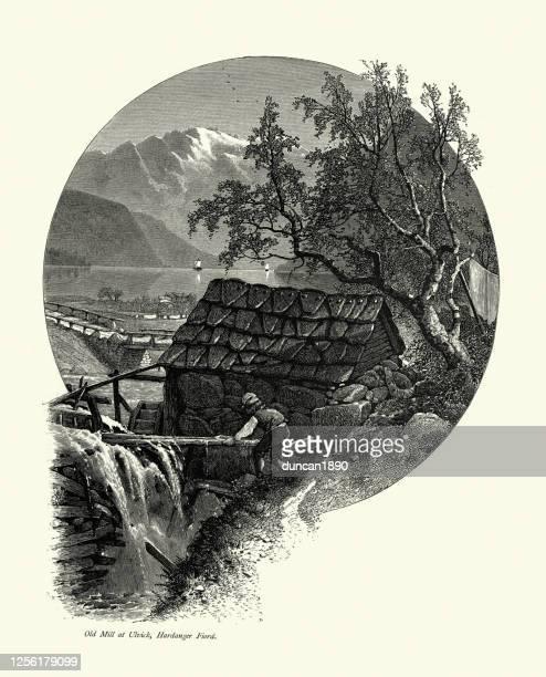 illustrazioni stock, clip art, cartoni animati e icone di tendenza di operaio al vecchio mulino di ulvik, hardangerfjord, norvegia, xix secolo - mulino ad acqua