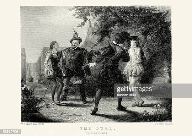 works of william shakespeare - the duel from twelfth night - dueling stock illustrations, clip art, cartoons, & icons