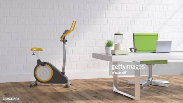 workspace with elliptical trainer, 3d rendering - loft apartment stock illustrations, clip art, cartoons, & icons