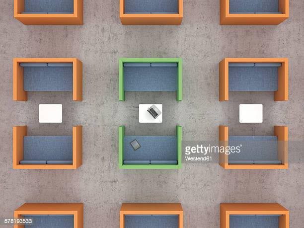 workspaces with partition walls in office, 3d rendering - meeting stock illustrations