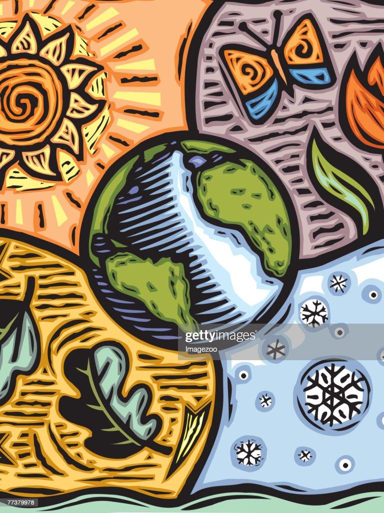 World and elements : Illustration