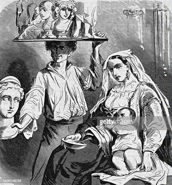 stockillustraties, clipart, cartoons en iconen met world exhibition paris 1867 - bella italia - art and family - italia